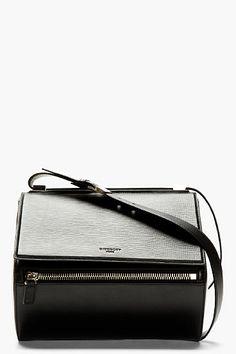 Black Calfskin Leather Pandora Box Medium Shoulder Bag