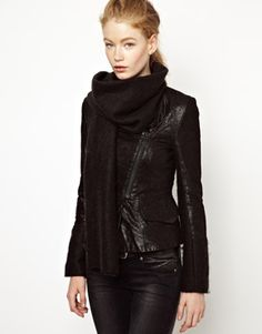 Eleven Paris Teather Leather Blazer with Mohair Scarf; scarf jacket is my new favorite hybrid. textured matte finish, zip front