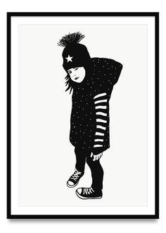 Poster für Kinder mit einem gezeichneten Kindermotiv in schwarz-weiß, in den Größen Din A2, A3 und A4 | Ulrike Wathling