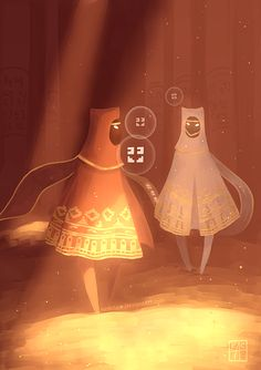 Journey fan art<<<< Friendship!!! Talking to your buddy along the journey~ Well you don't really Talk .... YOU CHIRP IT'S BASICALLY MAGICAL