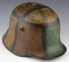 Handpainted camo pattern on german helmet