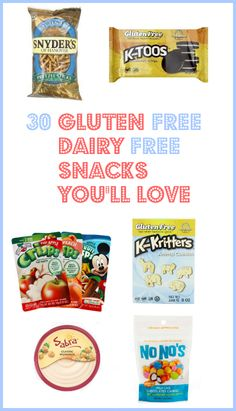 30 Gluten and Dairy Free Snacks You'll love. Great choices for school snacks or for long days at the office. Awesome choices you didn't know were available!! #glutenfree #dairyfree #snacks