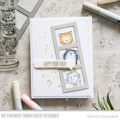 Handmade card by Gemma Campbell featuring Cool Cat Stamp Set and Die-namics, Blueprints 27 Die-namics, and Essential Speech Bubbles Die-namics from My Favorite Things #mftstamps