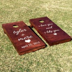 Love these wedding cornhole boards, different than the now standard monogram look!