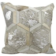 Shop for Michael Amini Metallic Hexagon Grey/Silver Throw Pillow (20-inch x…
