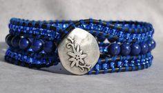 Sea Breeze - Deep Blue 3 Layer Beaded Leather Cuff Bracelet - by SeaSide Strands