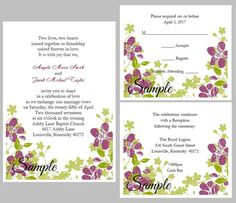 100 Personalized Purple Floral Border  Wedding Invitations    Item Details------------    With this set you will receive:    100 Personalized