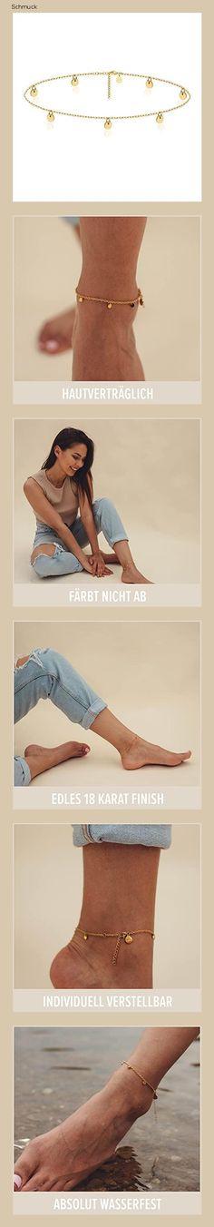 Good.Designs Fußkettchen für Damen I Fußkette mit runden Plättchen I Boho Schmuck (Gold) - 151n