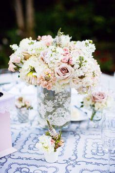 Romantic California Wedding - wedding centerpiece idea. Photo: Janae Shields