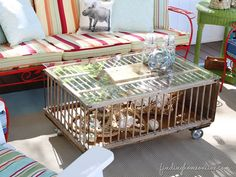 This blogger transformed an old chicken coop into a beautiful, beach-themed coffee table by adding casters to create movable legs and a Plexiglas tabletop.