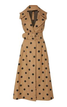 Polka Dot Cotton Midi Dress by Oscar de la Renta Day Dresses, Casual Dresses, Winter Dresses, Women's Dresses, Dresses Online, Look Fashion, Fashion Outfits, Dress Fashion, Fashion 2018