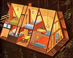 Beginning in the late 1950s the A-frame style of home architecture became popular in America, especially for vacation homes in snowbound mountain areas.