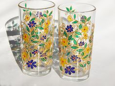 Glasses with Flowers Set of 2 Flowers Glasses Everyday, Tumblers, Drinking Glasses, Water Glasses Flowers patterns on glass Iced Tea Glasses