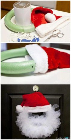 DIY Tulle Santa Wreath. #christmascrafts
