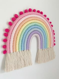Perfect for any nursery, kids room or for anyone who's a love of all things rainbows. Approx Handmade with love in Papillion NE Rainbow Bedroom, Rainbow Wall, Rainbow Pastel, Rainbow Room Kids, Rainbow Nursery Decor, Yarn Wall Hanging, Wall Hangings, Rainbow Decorations, Rainbow Crochet