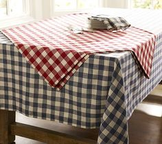 I also got some blue-gray gingham squares to accent the blue tableclothes- potentially to be angled on top kind of like how the red one is