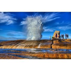 This is another shot of Bicheno blowhole showing the height in comparison to the people beside it, it was amazing, really put on a show… Western Australia, Australia Travel, Queensland Australia, Great Places, Places To See, Amazing Places, Melbourne, In The Heights, New Zealand