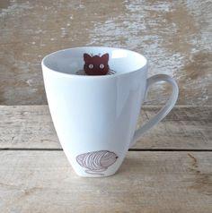 Kitty Cat and Yarn Mug, Kitten Kitty, Large 16 oz Cup, Ready to Ship