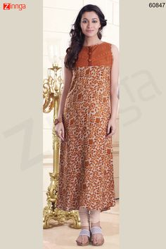 Brown Color with Printed & Resham Work Incredible Readymade Kurti Message/call/WhatsApp at +91-9246261661