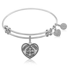 Expandable Bangle in White Tone Brass with U.S. Navy Proud Wife Symbol