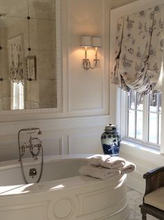 The Enchanted Home bathroom. Custom shades by Amy Chalmers Maison Decor