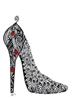 hoge hak schoen met stippen kleurplaat thema moederdag