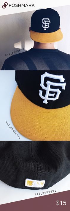 SF Giants New Era fitted baseball hat New Era   Officially licensed 59FIFTY fitted San Francisco Giants hat in black and yellow. White embroidered team logo. Lightly used and in very good condition except for light mark on bill as pictured.   Size: 7 3/8 80% wool and 20% polyester New Era Accessories Hats