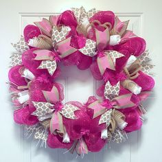 The Pink & Burlap Hope Wreath is a beautiful way to show support for all who have been affected by breast cancer.