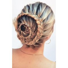 The Braided Bun ❤ liked on Polyvore featuring beauty products, haircare, hair styling tools, hair and hairstyles