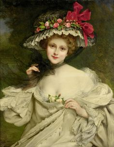 A Beauty with a Red-Ribboned Hat - Francois Martin-Kavel