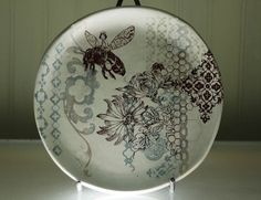 Salad Plate Bee Queen Plate Dining and by mudstuffing on Etsy