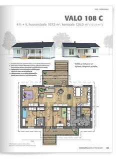 Kannustalo Valo 108. Building A House, Floor Plans, House Floor Plans, Floor Plan Drawing