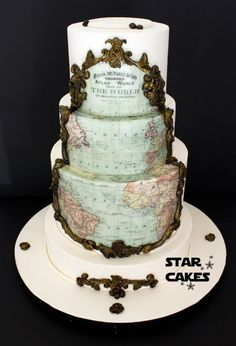 Vintage Map Wedding cake - Cake by Star Cakes Pretty Cakes, Beautiful Cakes, Amazing Cakes, Map Cake, Cake Art, Cupcakes, Cupcake Cakes, Map Wedding, Wedding Cakes