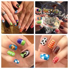 My from over the weekend. Toy Story Nails, Nail Art For Kids, Disney Nails, Make Me Up, Disney Toys, Cute Nails, Nail Designs, Hand Painted, Pixar