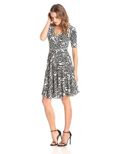 Elbow-Sleeve Printed Faux-Wrap Dress by Donna Morgan