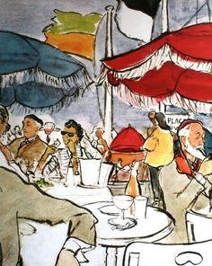 Bar du Soleil in Deauville Illustration by Eric 1954