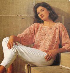 Jersey a Crochet -> http://esquemas.ctejidas.com/2014/07/jersey-de-cuadrados-de-ganchillo.html