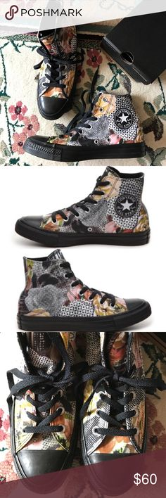 Converse Chuck Taylor Digital Flower Hi Tops Old school never looked so fly. Rep your era to the fullest in a pair of these Classic Hi Chucks from Converse. Signature Chuck Taylor All Star rubber toe box, textured toe bumper, contrast side-wall trim, medial side air vent holes. Ox Sneakers Floral canvas upper Converse Shoes Sneakers