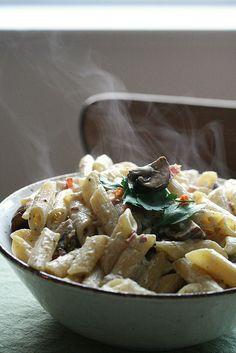 Mushroom Carbonara Pasta {Via Crumb}