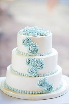 Powder Blue and White Swirled Roses   wedding cake  ~ all edible