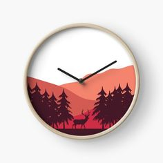 Mountains and forest sunset landscape illustration with deer animal silhouette. • Millions of unique designs by independent artists. Find your thing. Forest Sunset, Animal Silhouette, Sunset Landscape, Landscape Illustration, Clocks, Deer, Wallpapers, Artists, Mountains