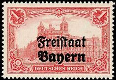 "Old German States Bavaria, Michel 148BDD. 1 Mark German Reich red with black typography overprint ""Free State Bavaria"", variety ""double overprint"", in perfect condition mint never hinged, unsigned with photo certificate Dr. Helbig BPP: ""mint never hinged and flawless"", Michel 2. 200. - rare stamp!"