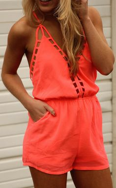 cut it out romper - neon pink