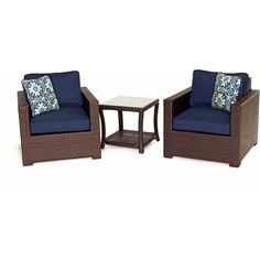 Metro3pc Seating Set: 2 Side Chairs, 1 Side Table - METRO3PC-B-NVY - Brown/Navy