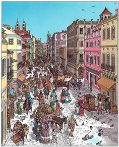Rua Nova dos Mercadores, em Lisboa, no início do Séc. XVI. Rue Nova dos Mercadores à Lisbonne au début du 16ème siècle. Portugal. Luís Diferr