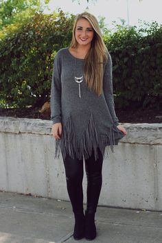 Fringe Grey Sweater | UOIonline.com: Women's Clothing Boutique