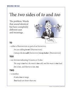 FREE: Two, too, & to. This guy has a few other free posters available for grammar.