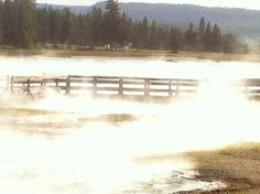 Yellowstone Park geyser coming up over bridge. Something ethereal about this.