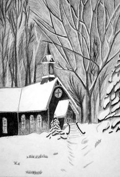 winter scene, charcoal, grade 10,11