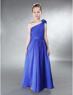 A-line One Shoulder Floor-length Chiffon Junior Bridesmaid Dress http://ltpi.co.nf/?item=169550
